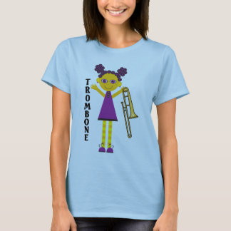 Cute Trombone Girl Cartoon T-shirt