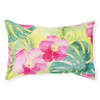 Cute Tropical Banana Leaves and Hibiscus Flowers Pet Bed