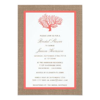 Cute Tropical Coral Beach Burlap Bridal Shower 13 Cm X 18 Cm Invitation Card