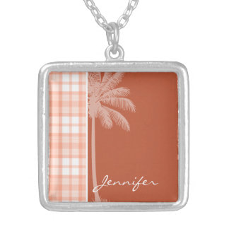 Cute Tropical Orange Plaid Jewelry