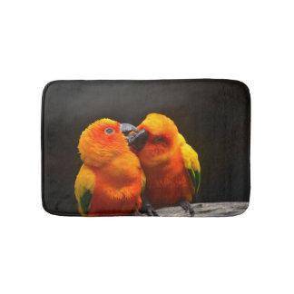 Cute Tropical Parrots Bath Mat