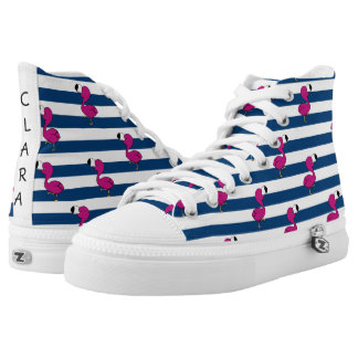 cute tropical pink baby flamingo navy blue stripes high tops