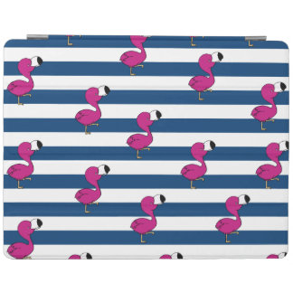 cute tropical pink baby flamingo navy blue stripes iPad cover