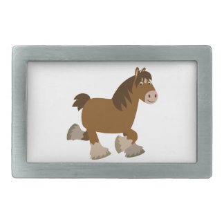 Cute Trotting Cartoon Shire Horse Belt Buckle