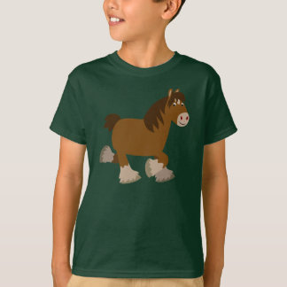 Cute Trotting Cartoon Shire Horse Children T-Shirt