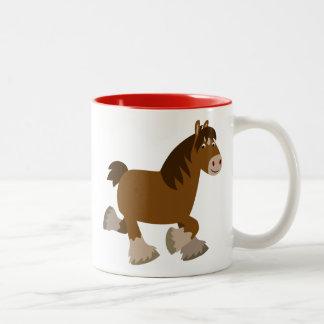 Cute Trotting Cartoon Shire Horse Mug