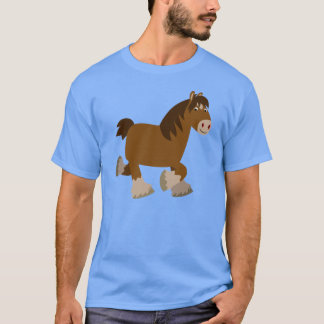 Cute Trotting Cartoon Shire Horse T-Shirt