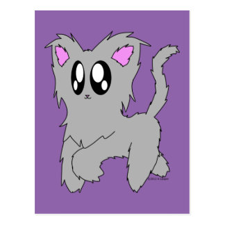 Cute Trotting Scruffy Cartoon Gray Kitten Postcard