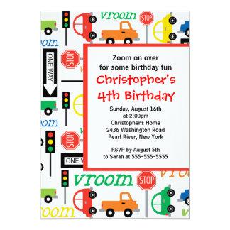 "Cute Trucks & Cars Birthday Party Invitation 5"" X 7"" Invitation Card"