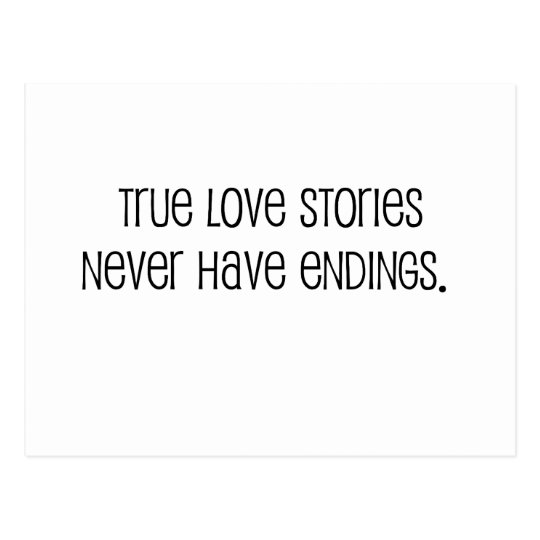 "Cute, ""True love stories"" marriage quote Postcard"