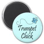 Cute Trumpet Chick Music Fridge Magnet
