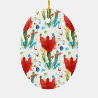 Cute Tulips Ceramic Oval Decoration