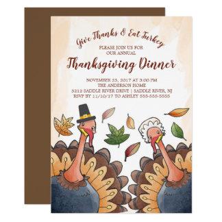 Cute Turkey Couple Thanksgiving Dinner Invitation