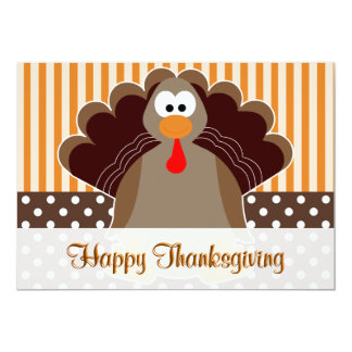 Cute Turkey Happy Thanksgiving Flat Card