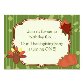 Cute Turkey Thanksgiving 1st Birthday Invitation
