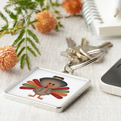 Cute Turkey Thanksgiving (customizable) Keychains