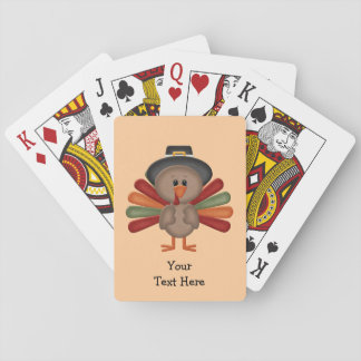 Cute Turkey Thanksgiving (customizable) Playing Cards