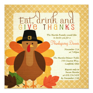 Cute Turkey Thanksgiving Dinner Card