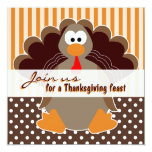 Cute Turkey Thanksgiving Feast Dinner Invitations