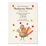 Cute Turkey Thanksgiving Potluck 9 Cm X 13 Cm Invitation Card