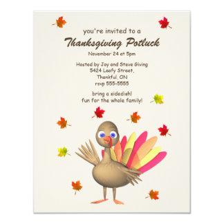 Cute Turkey Thanksgiving Potluck Card