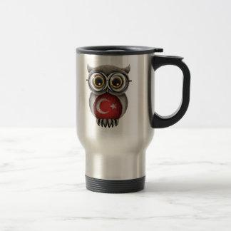 Cute Turkish Flag Owl Wearing Glasses Travel Mug