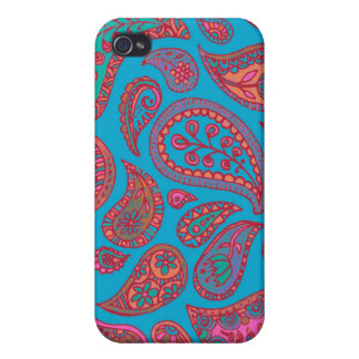Cute Turquoise and Pink Paisley iPhone case iPhone 4 Cover