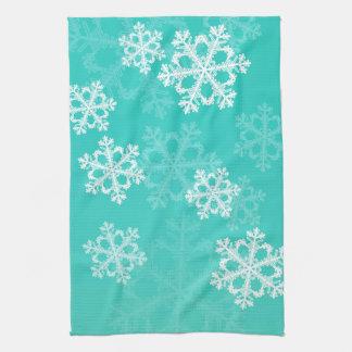 Cute turquoise and white Christmas snowflakes Tea Towel