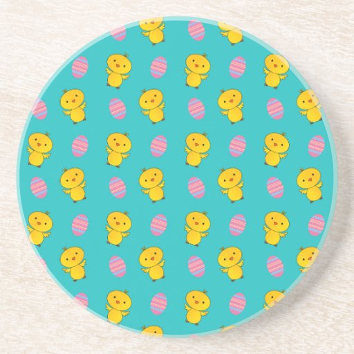 Cute turquoise baby chick easter pattern beverage coasters