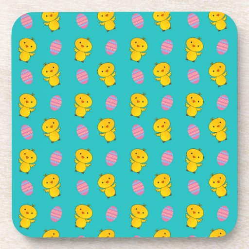 Cute turquoise baby chick easter pattern drink coasters