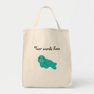 Cute turquoise baby seal grocery tote bag