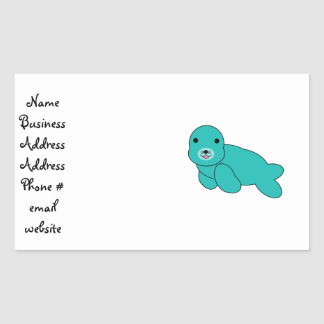 Cute turquoise baby seal rectangle stickers