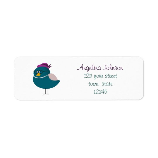Cute Turquoise Bird Cartoon Return Address Label