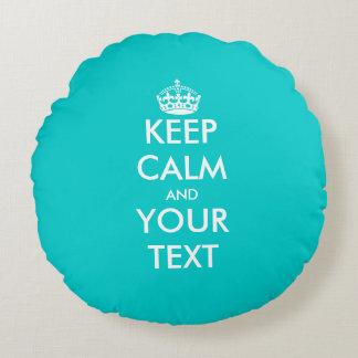 Cute turquoise blue keep calm round throw pillow