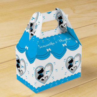 Cute Turquoise Cat Bride & Groom Wedding Favor Box Party Favour Boxes