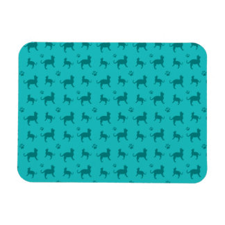 Cute turquoise cats and paws pattern vinyl magnets