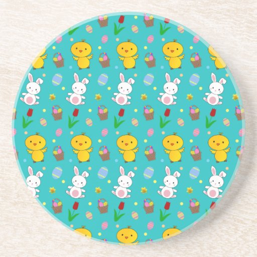 Cute turquoise chick bunny egg basket easter drink coaster