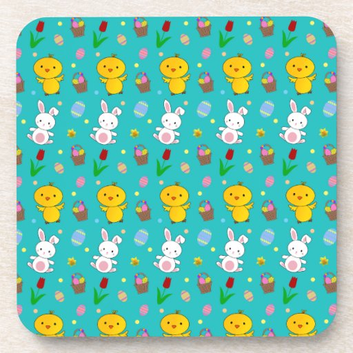 Cute turquoise chick bunny egg basket easter coasters