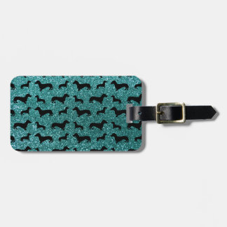 Cute turquoise dachshund glitter pattern luggage tag