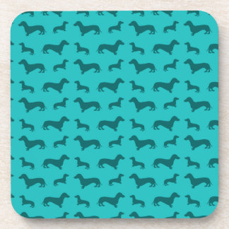 Cute turquoise dachshund pattern drink coasters