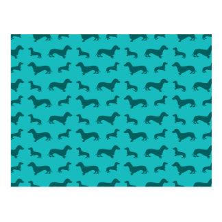 Cute turquoise dachshund pattern postcard