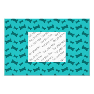 Cute turquoise dog bones pattern photograph