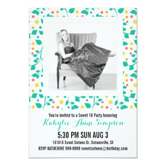Cute Turquoise Floral Photo Sweet 16 Party 4.5x6.25 Paper Invitation Card