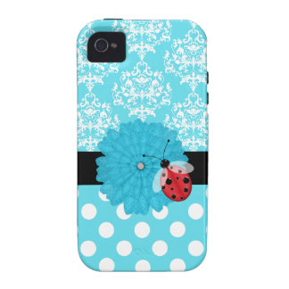 Cute Turquoise Floral with Ladybug iPhone Case Case For The iPhone 4