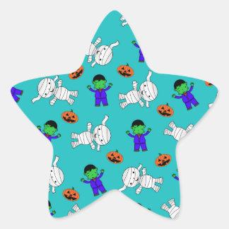 Cute turquoise Frankenstein mummy pumpkins Star Stickers