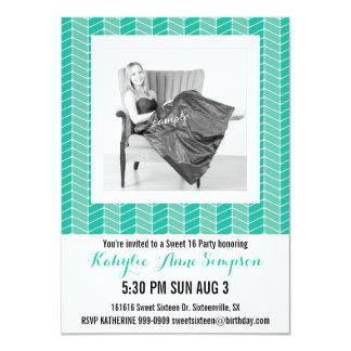 Cute Turquoise Herringbone Photo Sweet 16 Party 4.5x6.25 Paper Invitation Card
