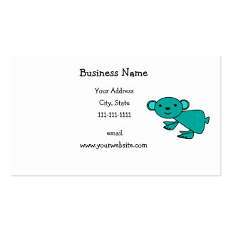 Cute turquoise koala business card