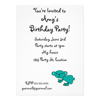 Cute turquoise koala personalized invite