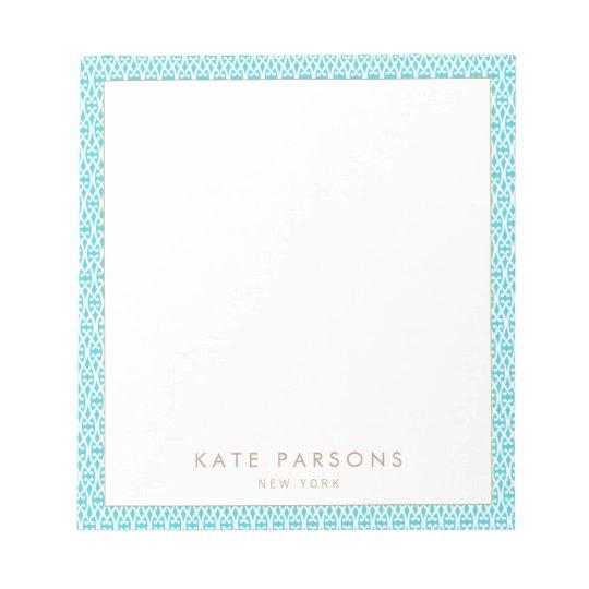 Cute Turquoise Lattice Pattern Notepad