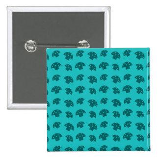 Cute turquoise mushroom pattern 15 cm square badge